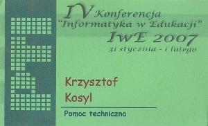 """IV Konferencja """"Informatyka w Edukacji"""" 2007"""